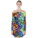 Abstract Fractal Batik Art Green Blue Brown Long Sleeve Off Shoulder Dress