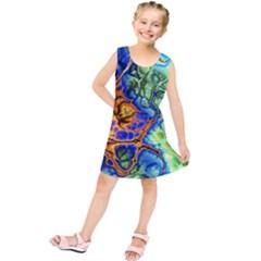 Abstract Fractal Batik Art Green Blue Brown Kids  Tunic Dress