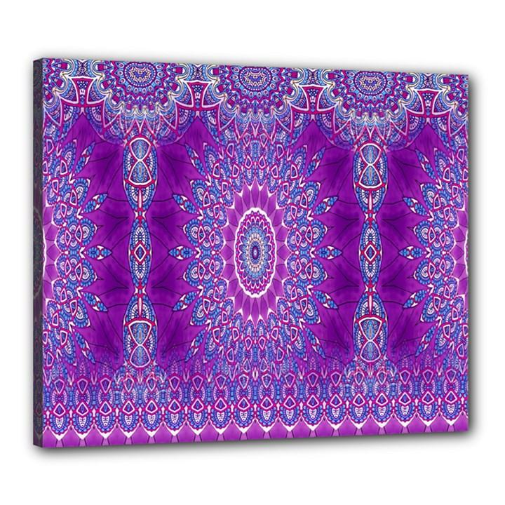 India Ornaments Mandala Pillar Blue Violet Canvas 24  x 20