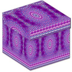 India Ornaments Mandala Pillar Blue Violet Storage Stool 12