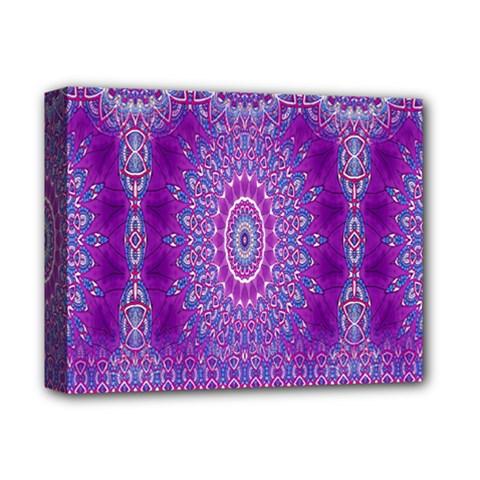 India Ornaments Mandala Pillar Blue Violet Deluxe Canvas 14  X 11