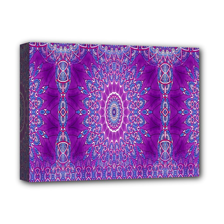 India Ornaments Mandala Pillar Blue Violet Deluxe Canvas 16  x 12