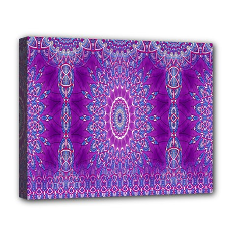 India Ornaments Mandala Pillar Blue Violet Deluxe Canvas 20  X 16