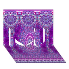 India Ornaments Mandala Pillar Blue Violet I Love You 3d Greeting Card (7x5) by EDDArt