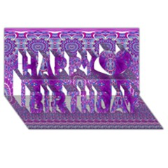 India Ornaments Mandala Pillar Blue Violet Happy Birthday 3d Greeting Card (8x4) by EDDArt