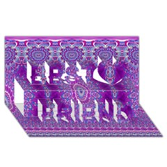 India Ornaments Mandala Pillar Blue Violet Best Friends 3d Greeting Card (8x4) by EDDArt