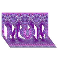 India Ornaments Mandala Pillar Blue Violet MOM 3D Greeting Card (8x4)