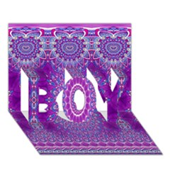 India Ornaments Mandala Pillar Blue Violet Boy 3d Greeting Card (7x5) by EDDArt