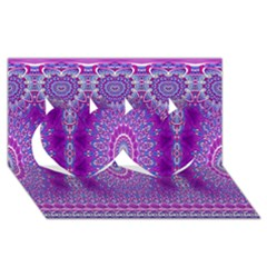 India Ornaments Mandala Pillar Blue Violet Twin Hearts 3d Greeting Card (8x4) by EDDArt
