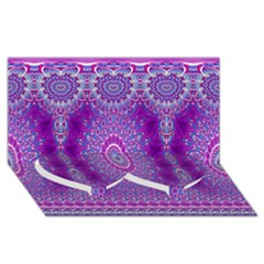 India Ornaments Mandala Pillar Blue Violet Twin Heart Bottom 3d Greeting Card (8x4) by EDDArt