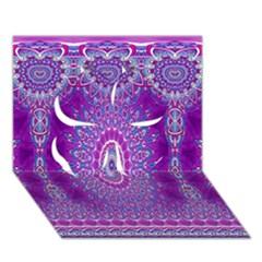 India Ornaments Mandala Pillar Blue Violet Clover 3D Greeting Card (7x5)