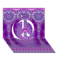 India Ornaments Mandala Pillar Blue Violet Peace Sign 3d Greeting Card (7x5) by EDDArt