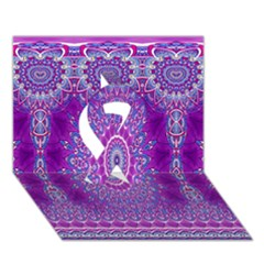India Ornaments Mandala Pillar Blue Violet Ribbon 3d Greeting Card (7x5) by EDDArt
