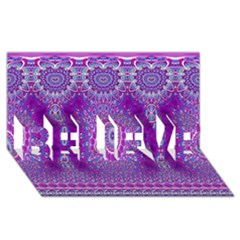 India Ornaments Mandala Pillar Blue Violet Believe 3d Greeting Card (8x4) by EDDArt