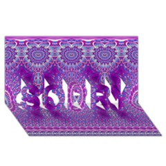 India Ornaments Mandala Pillar Blue Violet Sorry 3d Greeting Card (8x4) by EDDArt