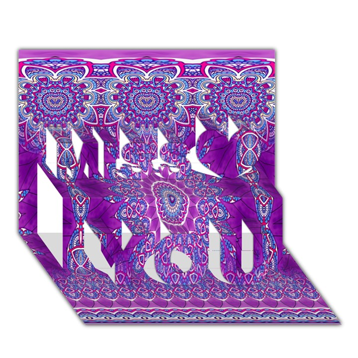 India Ornaments Mandala Pillar Blue Violet Miss You 3D Greeting Card (7x5)