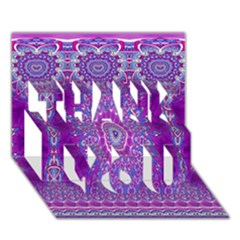 India Ornaments Mandala Pillar Blue Violet Thank You 3d Greeting Card (7x5) by EDDArt