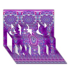 India Ornaments Mandala Pillar Blue Violet Get Well 3d Greeting Card (7x5) by EDDArt