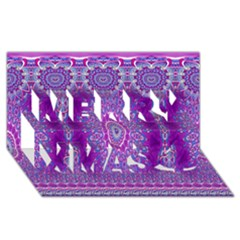 India Ornaments Mandala Pillar Blue Violet Merry Xmas 3d Greeting Card (8x4) by EDDArt