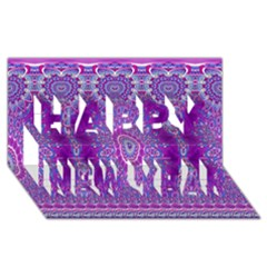 India Ornaments Mandala Pillar Blue Violet Happy New Year 3d Greeting Card (8x4) by EDDArt