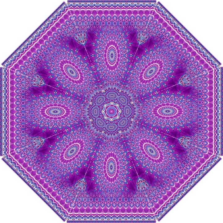 India Ornaments Mandala Pillar Blue Violet Hook Handle Umbrellas (Small)