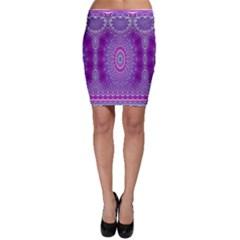 India Ornaments Mandala Pillar Blue Violet Bodycon Skirt by EDDArt