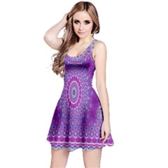 India Ornaments Mandala Pillar Blue Violet Reversible Sleeveless Dress by EDDArt