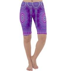 India Ornaments Mandala Pillar Blue Violet Cropped Leggings