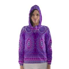 India Ornaments Mandala Pillar Blue Violet Hooded Wind Breaker (Women)