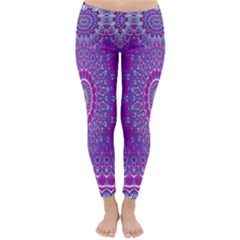 India Ornaments Mandala Pillar Blue Violet Winter Leggings