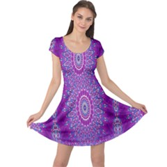 India Ornaments Mandala Pillar Blue Violet Cap Sleeve Dresses