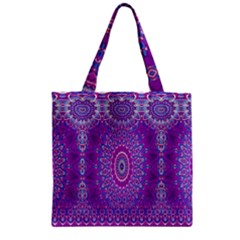 India Ornaments Mandala Pillar Blue Violet Zipper Grocery Tote Bag by EDDArt
