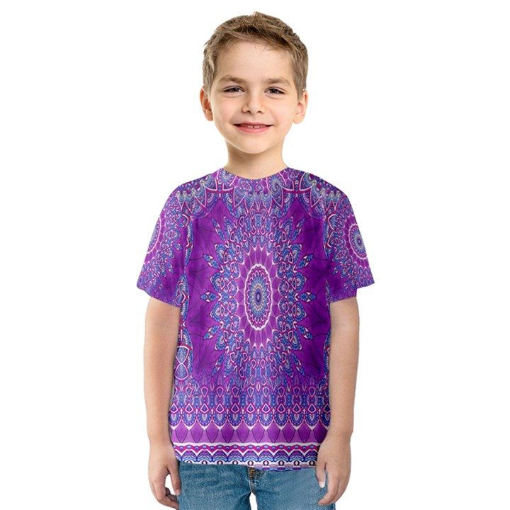 India Ornaments Mandala Pillar Blue Violet Kids  Sport Mesh Tee