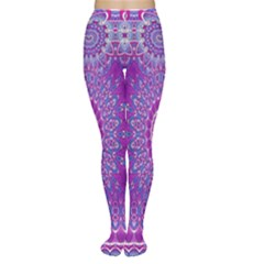 India Ornaments Mandala Pillar Blue Violet Women s Tights by EDDArt
