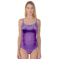 India Ornaments Mandala Pillar Blue Violet Camisole Leotard