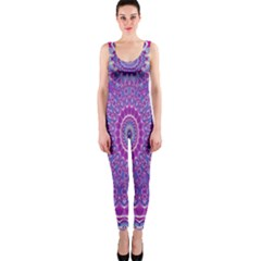 India Ornaments Mandala Pillar Blue Violet Onepiece Catsuit by EDDArt
