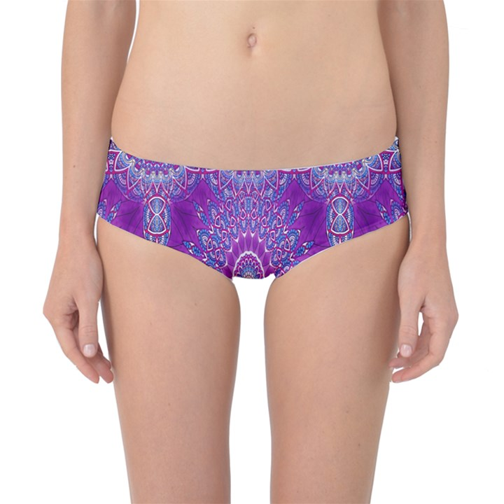 India Ornaments Mandala Pillar Blue Violet Classic Bikini Bottoms