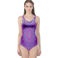 India Ornaments Mandala Pillar Blue Violet One Piece Swimsuit by EDDArt