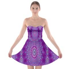 India Ornaments Mandala Pillar Blue Violet Strapless Bra Top Dress