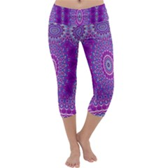 India Ornaments Mandala Pillar Blue Violet Capri Yoga Leggings