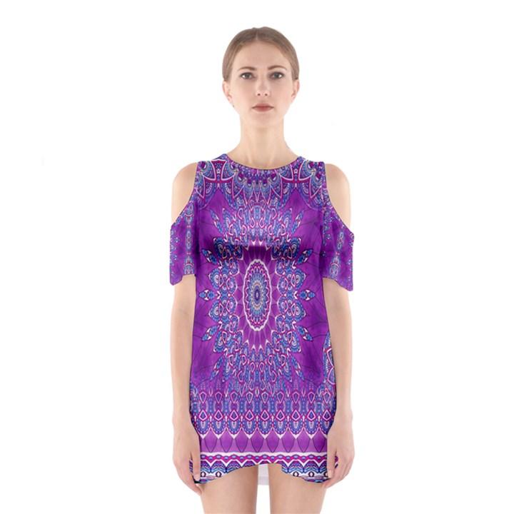 India Ornaments Mandala Pillar Blue Violet Cutout Shoulder Dress