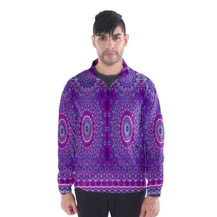 India Ornaments Mandala Pillar Blue Violet Wind Breaker (Men)