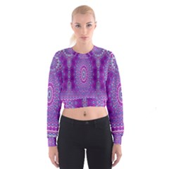 India Ornaments Mandala Pillar Blue Violet Women s Cropped Sweatshirt by EDDArt