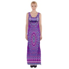 India Ornaments Mandala Pillar Blue Violet Maxi Thigh Split Dress by EDDArt