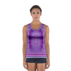 India Ornaments Mandala Pillar Blue Violet Women s Sport Tank Top  by EDDArt