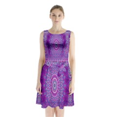 India Ornaments Mandala Pillar Blue Violet Sleeveless Chiffon Waist Tie Dress