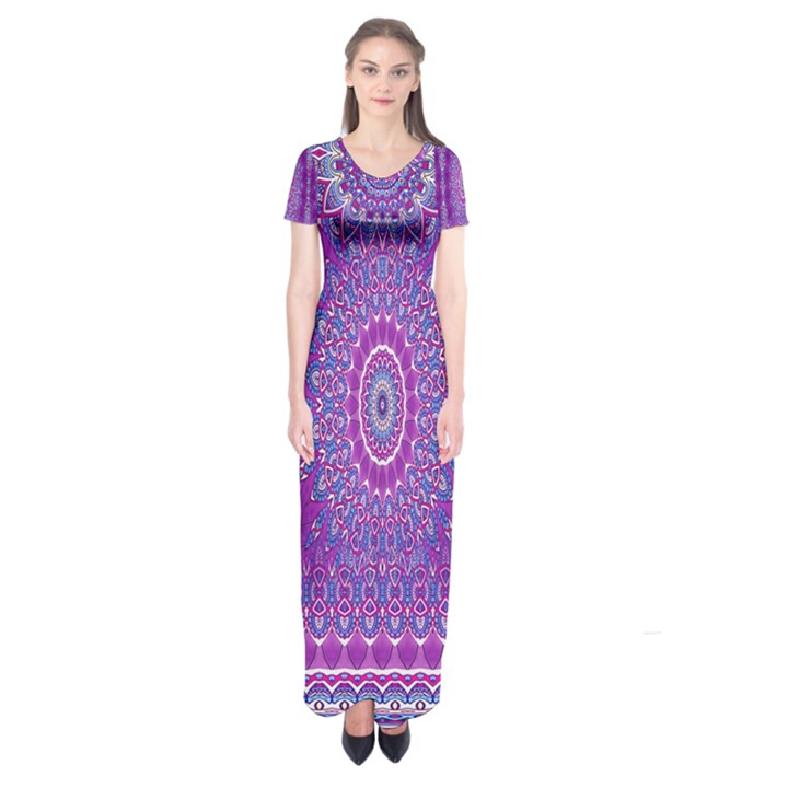 India Ornaments Mandala Pillar Blue Violet Short Sleeve Maxi Dress