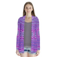 India Ornaments Mandala Pillar Blue Violet Drape Collar Cardigan by EDDArt