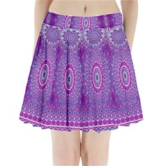 India Ornaments Mandala Pillar Blue Violet Pleated Mini Skirt by EDDArt