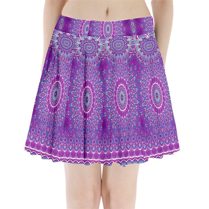 India Ornaments Mandala Pillar Blue Violet Pleated Mini Skirt